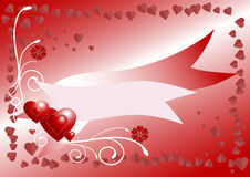 Red background with heart. Postcard. Banner. Stock Photos