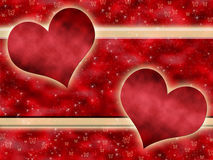 Red background with hearts Stock Photography