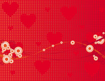 Red background with hearts and circles Royalty Free Stock Photo