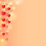 Red background with hearts. Light pink-red background with decoration of hearts and beads on strings vector illustration