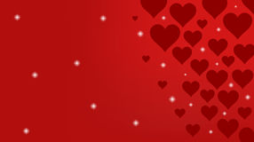 Red Background with Hearts and Lights Stock Image