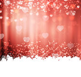 Red background with hearts and lights Stock Photography