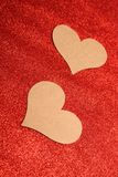 Red background and 2 hearts Royalty Free Stock Photos