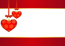 Red background with hearts Stock Photos