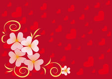 Red background with hearts and spring flowers. Festive red background with hearts and spring flowers Royalty Free Stock Images