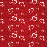 Red background with hearts for a Valentine day. (seamless texture). Dark red and white hearts Vector Illustration