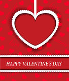 Red background with hearts for Valentine's Day. Red background with a paper heart for Valentine's Day Royalty Free Stock Images