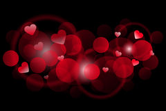 Red background with hearts Royalty Free Stock Images