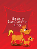 Red background with horse, baby horse Royalty Free Stock Images