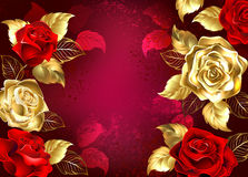 Red background with jewelry roses. Red textured background with jewelry, red and gold roses. Design with roses Stock Photos
