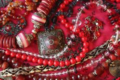 Red background-jewerly Stock Photography