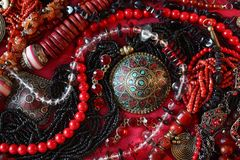 Red background-jewerly Royalty Free Stock Images