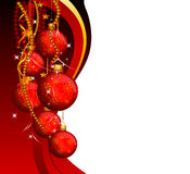 Red background with jingle balls Stock Images