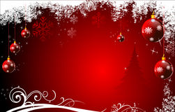 Red background with jingle balls and stars Royalty Free Stock Image