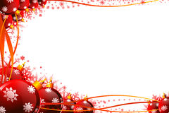 Red background with jingle balls on white Royalty Free Stock Photos