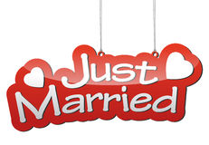 Red  background just married Royalty Free Stock Image