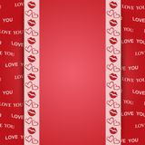 Red background with kiss and hearts - vector love you Stock Image