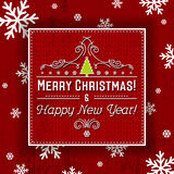 Red background and  label with christmas tree and  text, vector Stock Images