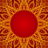 Red background with lace round ornament Royalty Free Stock Images
