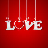 Red background with love inscription Stock Image