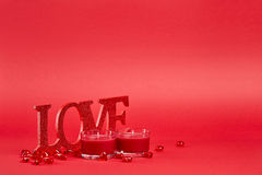 Red background with love sign Stock Photography