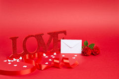 Red background with love sign Royalty Free Stock Image