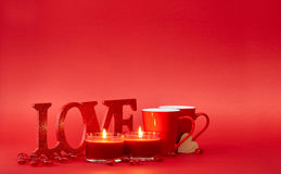 Red background with love sign Stock Image