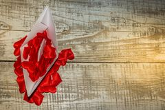 Love and ships. Red, background, love, white, gift, heart, paper, valentine, modern, isolated, concept, symbol, shape, sign, space, celebration, romantic, copy stock image