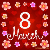 Red background 8 march with flowers and hearts. Vector illustration Royalty Free Stock Photo