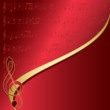 Red background with musical notes - vector Royalty Free Stock Photos