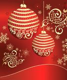 Red background with New Year's spheres Royalty Free Stock Photos