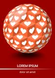Red background in optical art style, sphere with cubes and white hearts. Vector EPS 10 Vector Illustration