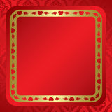 Red background with ornament and frame - vector Royalty Free Stock Photography
