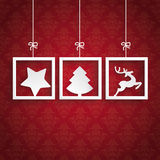 Red Background Ornaments 3 Frames Christmas Royalty Free Stock Image