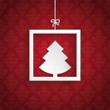 Red Background Ornaments Quadrate Frame Christmas Tree Stock Photo