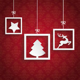 Red Background Ornaments 3 Quadrates Frames Christmas. White frames on the red background royalty free illustration