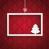 Red Background Ornaments White Frame Christmas Tree Stock Photos