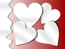 Red background with paper cut heart Royalty Free Stock Image