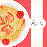 Red background with pasta Royalty Free Stock Photos