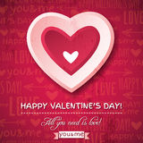 Red background with  pink valentine heart and wish Stock Photography