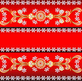 Of a red background with precious stones, gold pat. Illustration of a red background with precious stones, gold pattern, and flowers Royalty Free Stock Photos
