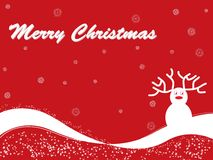 Red background with reindeer. Red Merry christmas card with reindeer and snow Stock Photos