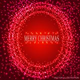 Red background with round frame from stars.Vector Illustration. Red background with round frame from stars. Bright illustration for holidays merry christmas and royalty free illustration