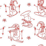 Red background seamless pattern of snowmen go skiing and snowboarding contour  illustration Stock Photo