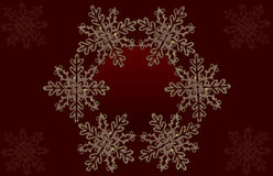 Red background with shinny snowflakes Stock Images