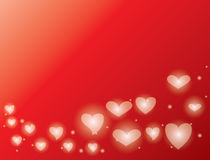 Red background with shiny hearts - vector valentines day Royalty Free Stock Image