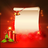 Red background with sign, candles and jingle bell Royalty Free Stock Image