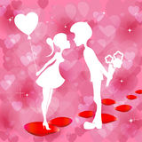 Red background with a silhouette of  boy and girl. Romantic red design with silhouettes of couples with flowers and balloon in hand Stock Photos