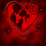 Red background and the silhouettes of the two lovers Royalty Free Stock Images