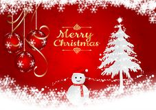 Red Background with Snow flake and ball for Christmas Season, Vector illustration Royalty Free Stock Image